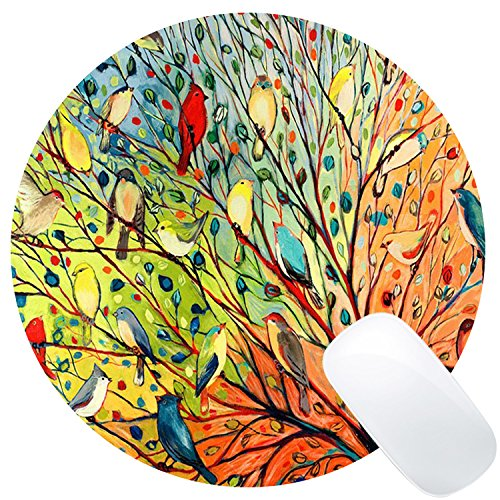 Wknoon Round Gaming Mouse Pad Custom Design, Gorgeous Illustration Painting 16 Birds Stand on The Tree, 8 Non-Slip Rubber Mousepad Mat