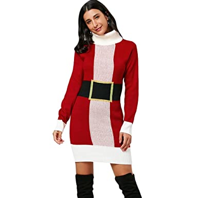 c8a30fbbd3a Hannea Christmas Belted Pattern Turtleneck Sweater Dress  Amazon.in   Clothing   Accessories
