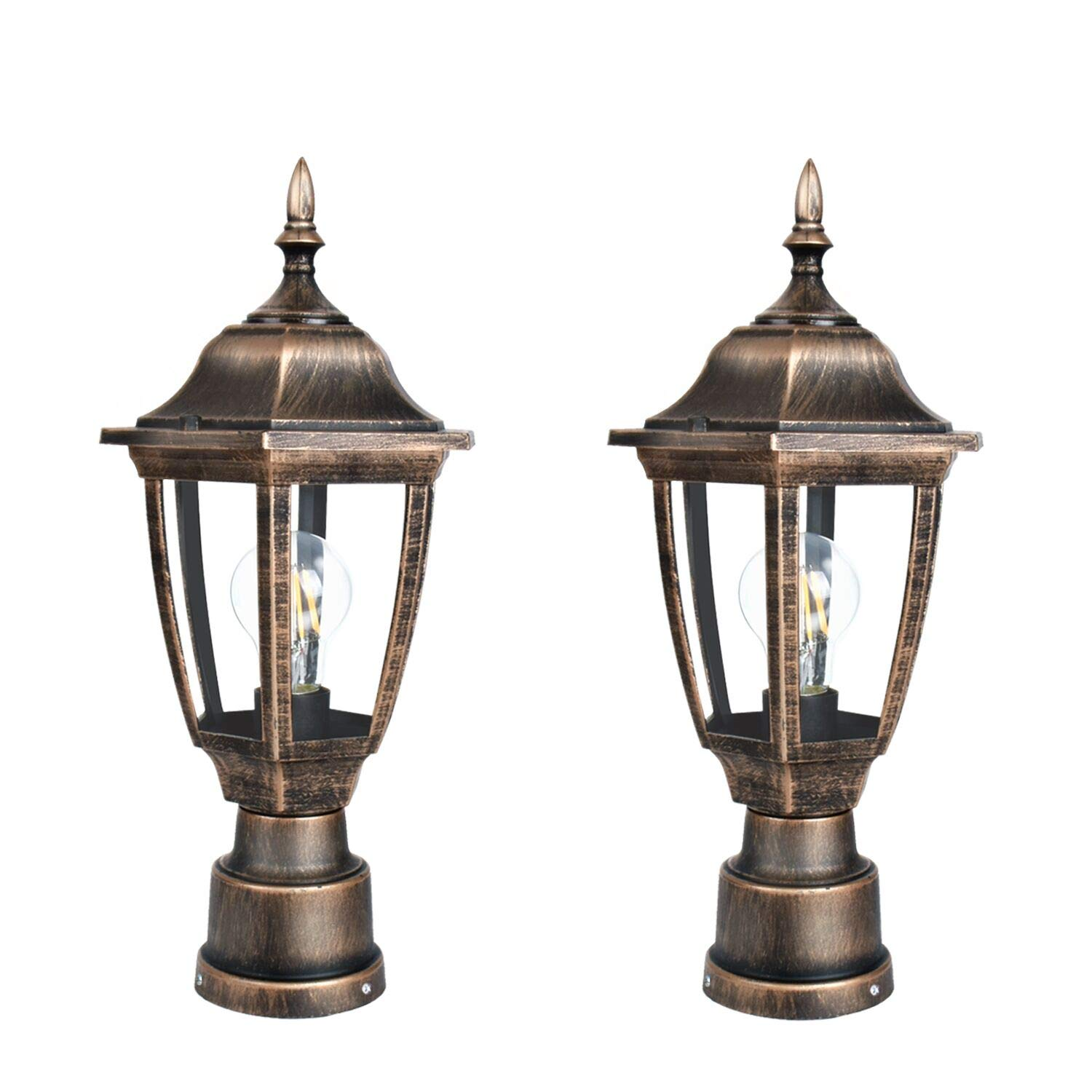 FUDESY 2-Pack Post Light Fixtures Outdoor,Plastic LED Black-Golden Post Lanterns Include 12W 1200LM Edison Filament Bulb(Corded-Electric), FDS2543G
