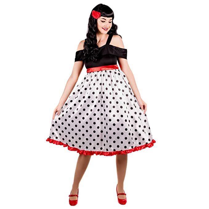 1950s Costumes- Poodle Skirts, Grease, Monroe, Pin Up, I Love Lucy Womens 50s Costume Adults Rockabilly Rock N Roll Polka Dot Dress Outfit $19.99 AT vintagedancer.com