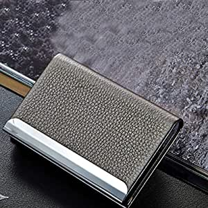 TT WARE Aluminum Alloy Metal Card Holder PU Leather Credit Card Case ID Card Storage Box-Grey