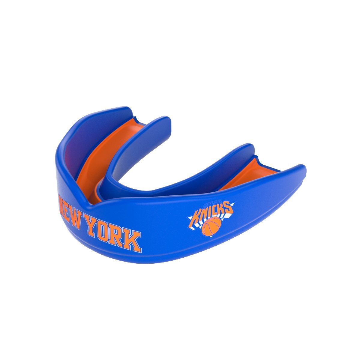 Shock Doctor 8300 NBA New York Knicks Basketball Mouth Guard, Blue/Orange, Adult