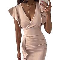 Evilib - Vestido lápiz de estilo vintage para mujer, diseño midi envolvente con fruncido, con cuello en V y manga con…
