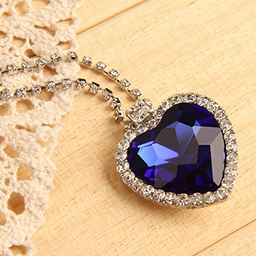 (Grimbatol Blue Crystal Diamond Heart Of Ocean Pendant Chain Necklace)