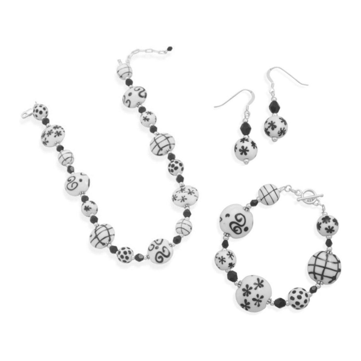 'Perle A Lume' Black and White Venetian Murano Glass Necklace, Bracelet Set With Drop Earrings