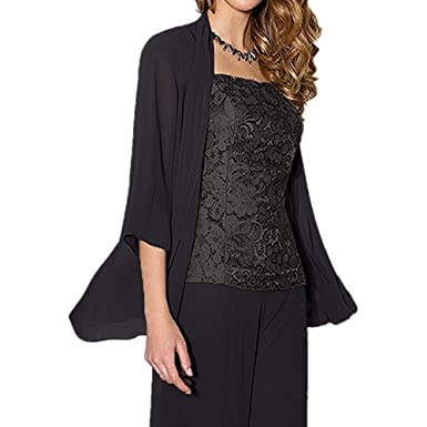 9cac1e47b3ad6 WHZZ Womens 3 Pieces Chiffon Mother of The Bride Dress with Jacket Pant  Suits Black