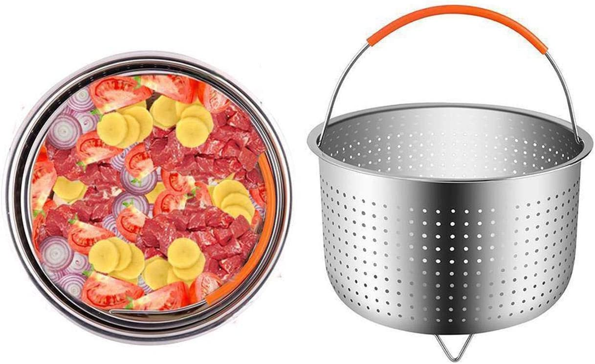 Dyna-Living Steamer Basket for Instant Pot 6 Quart Instant Pot Accessories Stainless Steel Steamer Basket with Silicone Handle Ideal for Steaming Vegetables Eggs 6 QT