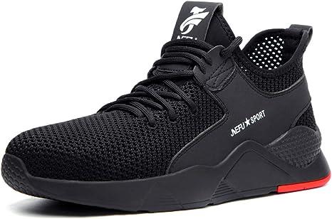 JIEFU Calzado de Seguridad Hombre Zapatos de Trabajo Deportivos Puntera de Acero Botas de Protección: Amazon.es: Zapatos y complementos