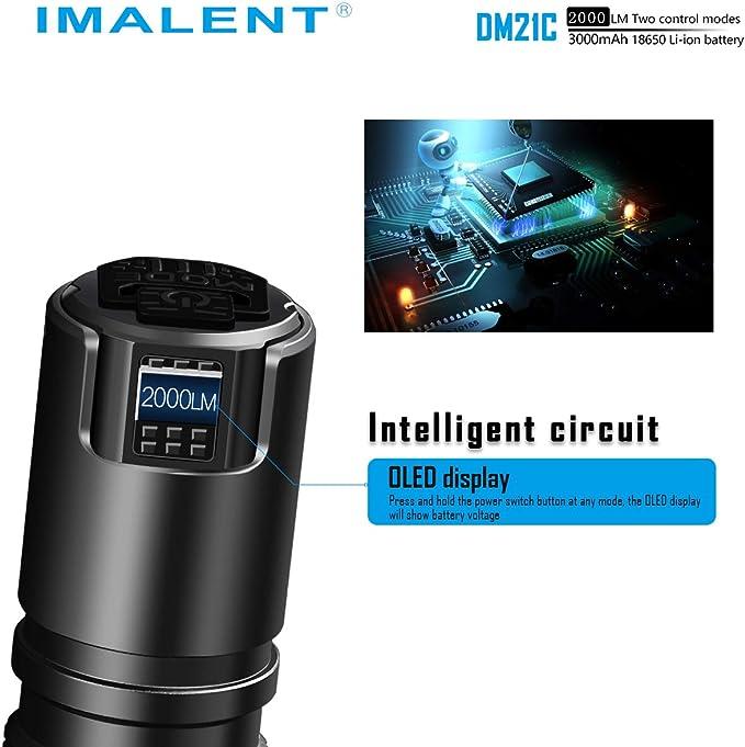 IMALENT DM21C Mini linterna LED potente 2000 lm IPX-8 impermeable con una pantalla multifunci/ón brillante LED linterna t/áctica 1,5 metros antica/ída