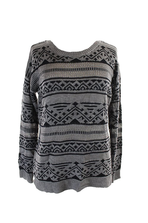 Hippie Rose Juniors Grey Aztec-Stripe Pullover Xl