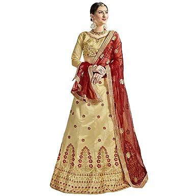 5b54c9dfd14 Manvaa Women S Bangalori Silk Embroidered Lehenga Choli In Beige Color