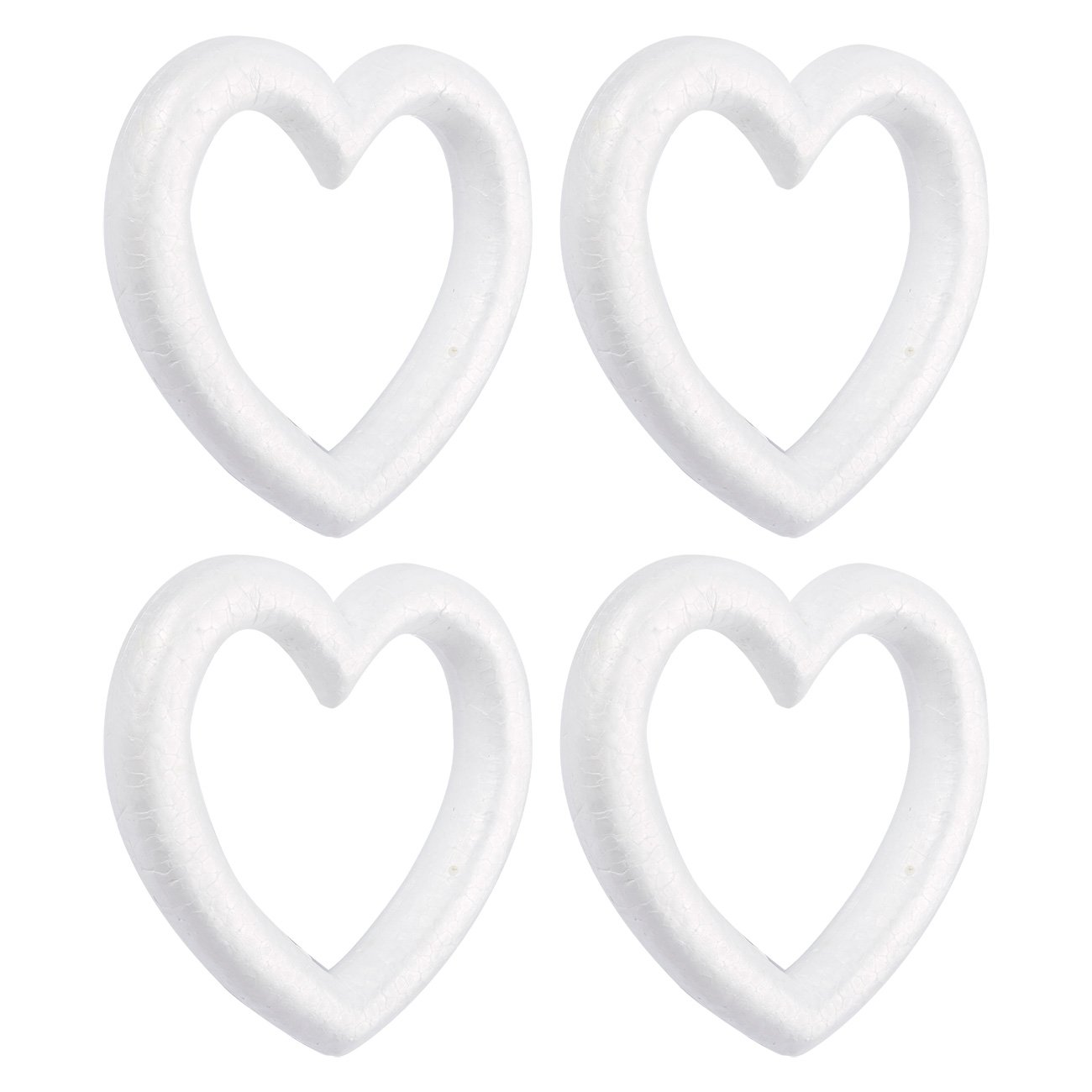 Juvale Heart Shaped Foam Wreath - 4-Pack Polystyrene Foam Wreath, Open Heart Shaped - Extruded Heart Foam Wreath, DIY Supplies Craft Projects Wedding Decorations - White, 9.84 x 1.89 x 9.84 inches by Juvale