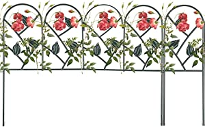 """Mr.Garden Edging Fence Iron Decorative Garden Barrier Panels 24""""x18""""(5pack) and 6""""x18""""(2pack) , Total Splicing Length 11.5ft, Dog Outdoor Fence, Coated Folding Border Fences for Garden, Dark Green"""