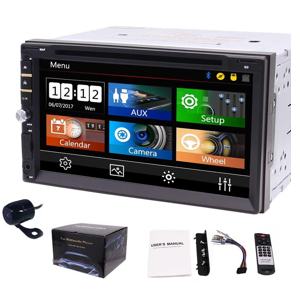 Colofulキーライト+バックアップカメラでNO GPSヘッドユニットはDINダッシュ2でautoradio BluetoothのCD / DVDプレーヤーUSB /マイクロSDとEinCar 7インチLCDマルチメディア容量性タッチスクリーンダブルディンカーステレオレシーバー B07BWCXGFY