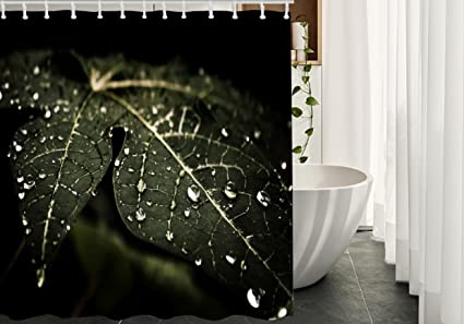 Amazon Migant Rain Shower Curtains Decor Waterdrops On The Leaf