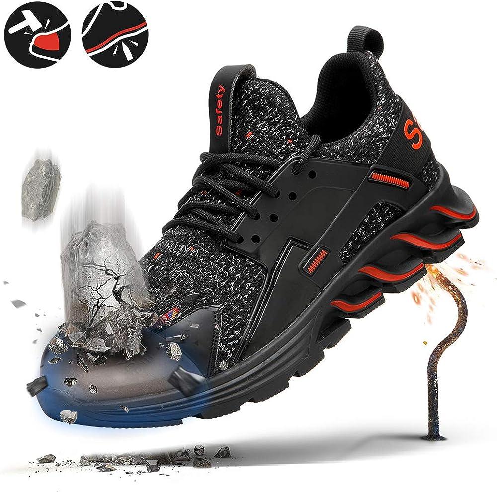 JSNMFASN Men Steel Toe Work Shoes