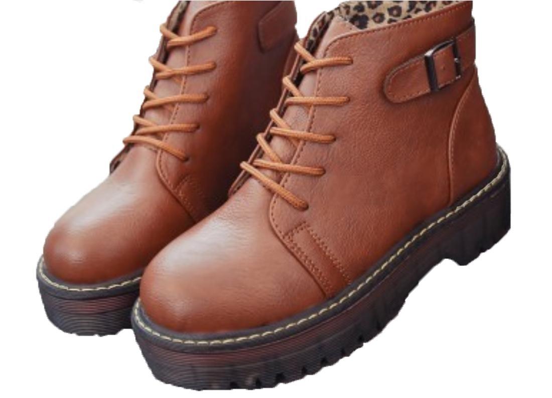 XDGG Damen Martin Stiefel Künstliche PU Single Schuhe Grau Gelb Braun Schwarz 39 36 35 38 37 , Gelb braun , 37