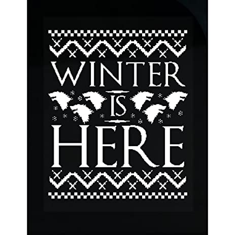 Winter is here ugly christmas sweater design sticker
