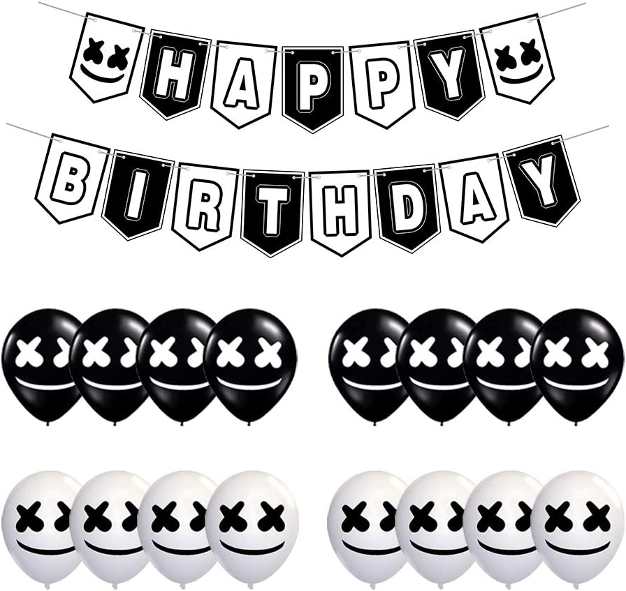 17 Pcs Marshmallow DJ Mask Birthday Party Supplies - Party Decoration Pack includes 1 Pre-assembled Banner and 16 Latex Baloons