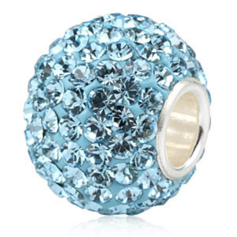 Aqua-Blue-Ball-Crystal-Pave-Sparkle-Bling-March-Birthstone-925-Silver-Bead-Jewelry