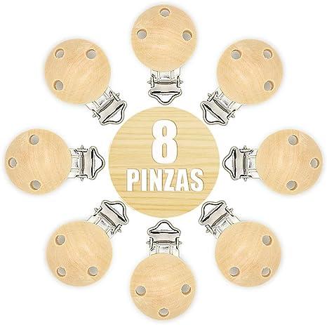 RUBY- 8 Pinzas clip para chupete, pinza chupete madera anti asfixia. Envío desde España (Natural): Amazon.es: Bebé