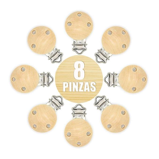 RUBY- 8 Pinzas clip para chupete, pinza chupete madera anti asfixia. Envío desde España (Natural)