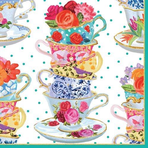 Caspari Napkins Floral Garden Party Paper Napkins Luncheon/Dessert Napkins Tea Cup Pk 40