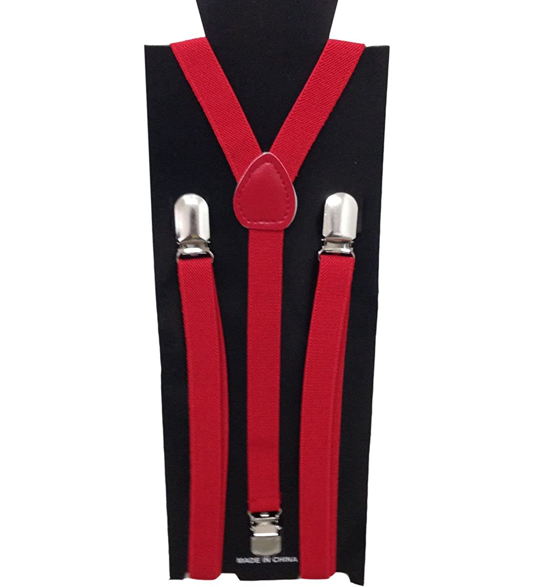 JTC Child Kid Adjustable Elastic Suspenders Solid Color Y Back Red