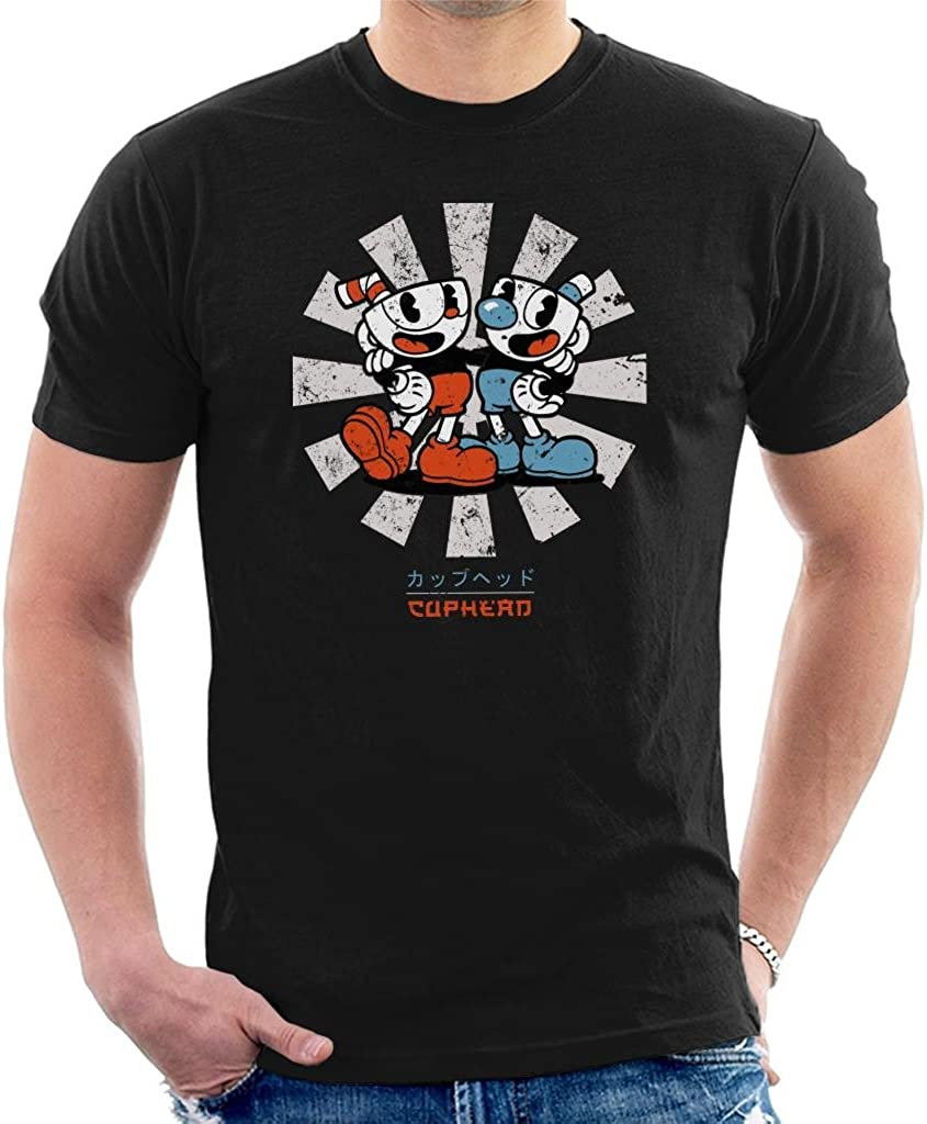 Cuphead Retro Japanese Mens T-Shirt: Amazon.es: Ropa y accesorios