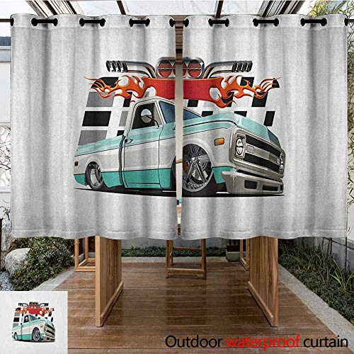 AndyTours Outdoor Curtain Panel for Patio,Truck,Lowrider Pickup with Racing Flag Pattern Background Speeding on The Streets Modified,for Patio/Front Porch,K183C160 Multicolor