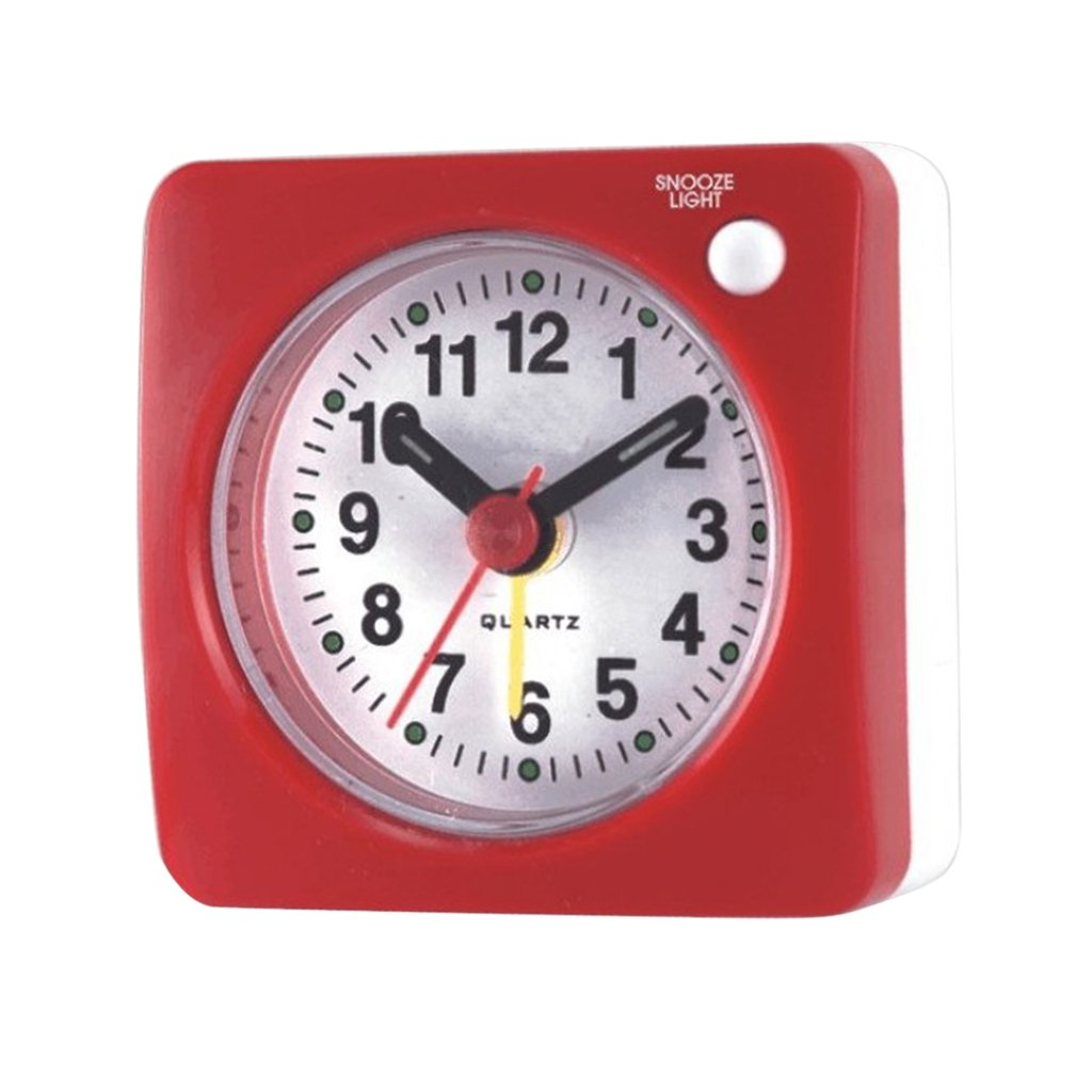 MonkeyJack 6cm / 2.4'' Small Clock, Ascending Sound, with Light, Non Ticking Analog Alarm Clock for Travel Bedside Table Desktop - Grey
