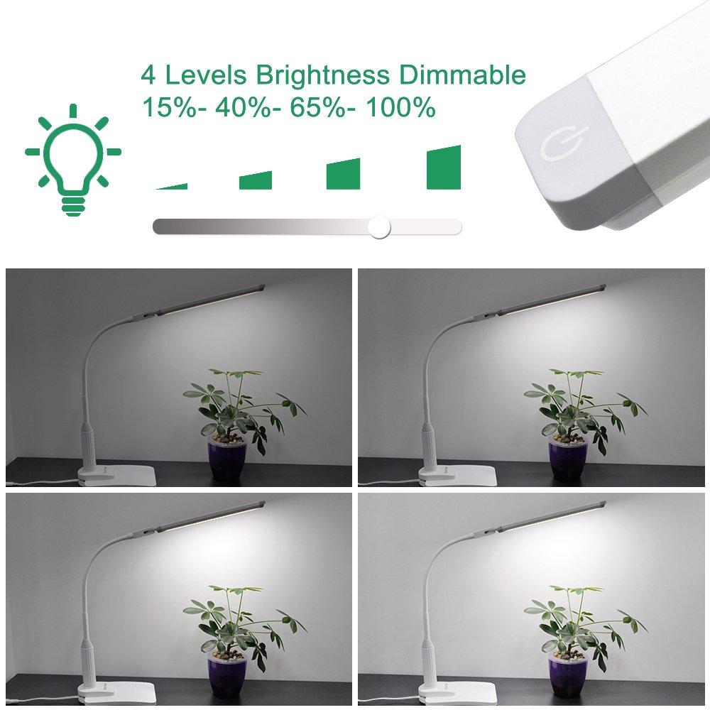 Lampara de Escritorio de Sobremesa Oficina LED 5W Regulable Tactil con Base de Pinza y Base de Escritorio Iluminacion Luz Fria Espesor de Pinza Max 7CM de ...