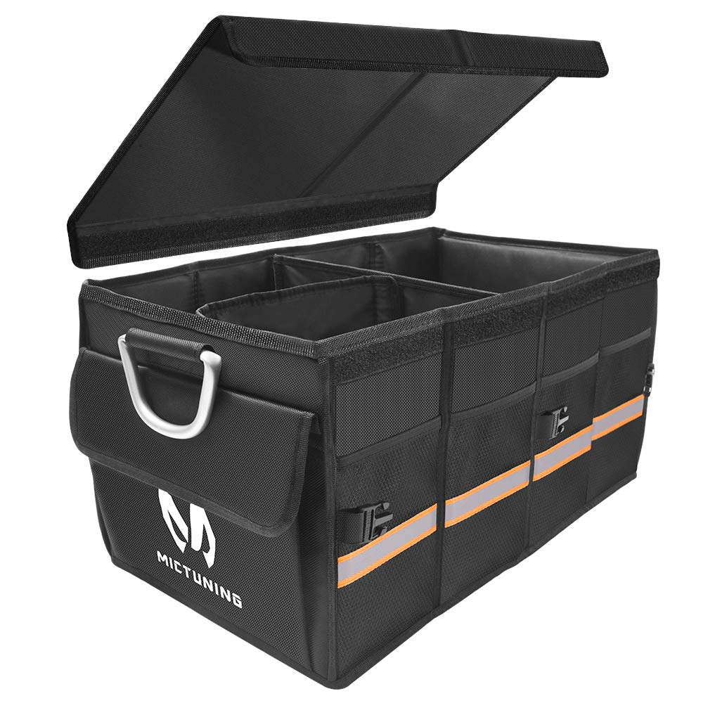 MICTUNING Jeep Impermeable Todoterreno Caja de Almacenamiento Plegable con Varios Compartimentos y asa de aleaci/ón de Aluminio para cami/ón Organizador de Maletero de Coche Coche