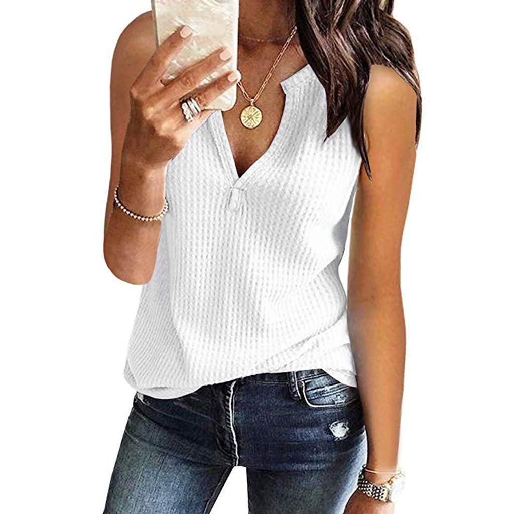 Sanyyanlsy Womens Reseau Deep V-Neck Tank Top Sleeveless Solid Color Tunic Shirt Ladies Summer Casual Vest Blouse