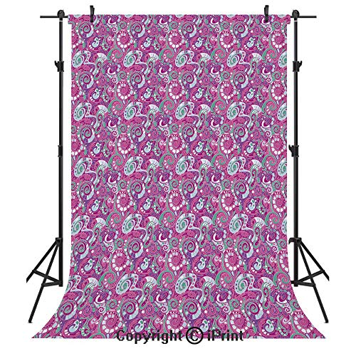 Abstract Photography Backdrops,Spiral Structure Pattern with Curves and Swirls Surreal Inspirations Decorative,Birthday Party Seamless Photo Studio Booth Background Banner 6x9ft,Sea Green Magenta Purp -  vinegparty Backdrops, JSLM_1903BJB_05908_K1.8xG2.8