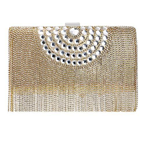 Femme Chaîne Clutch Pochette Sac Bourse pour Fête Bandouliere Sac Main à Mariage Bal Maquillage Soirée Gold 4qw1Px5v