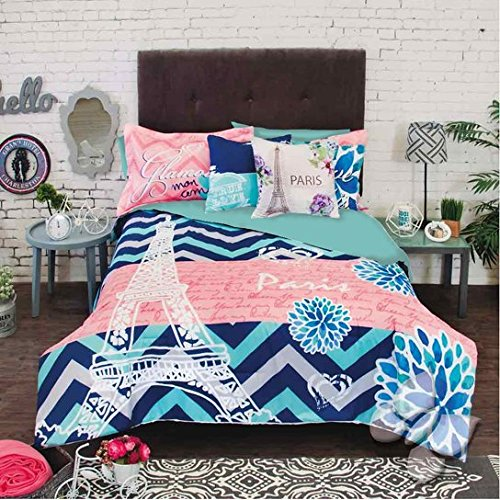 Coral Tower (NEW GIRLS TEENS BLUE CORAL EIFFEL TOWER PARIS REVERSIBLE COMFORTER SET 8 PCS FULL XL)