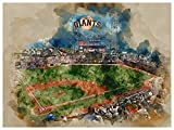 San Francisco Giants Poster Watercolor Art Print 12x16 Wall Decor