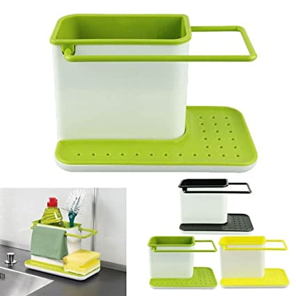 Inditradition 3 in 1 Kitchen Sink Organizer (for Dishwasher Liquid, Brush, Cloth, Soap, Sponge), Plastic, Assorted Color