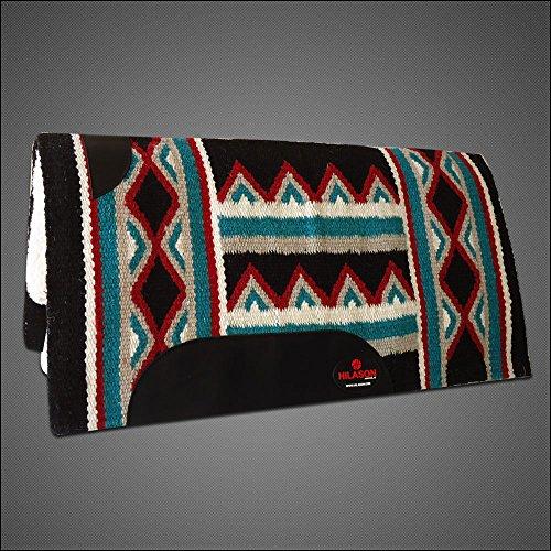 (HILASON Made in USA Western Wool Gel Saddle Blanket Pad Black Blue)