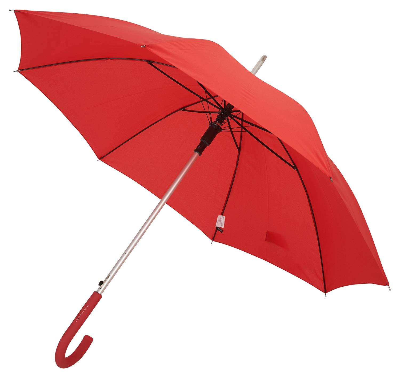 TAHARI Automatic Open Aluminum Shaft Rubberized Grip Handle Umbrella (Red)