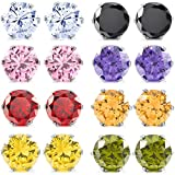 MOWOM Multicolor 3~10 mm 16 PCS Stainless Steel Stud Earrings CZ Round Square Royal King Crown Set ( 8 Pairs )