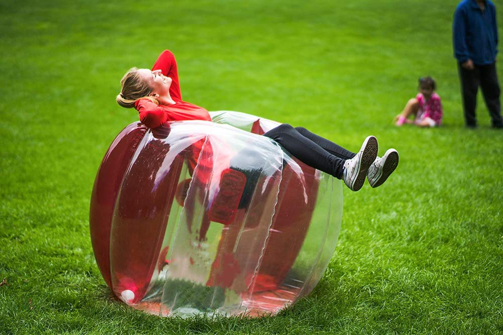 SanXingRui Inflatable Bubble Ball Wearable Infatable Bumper Ball Inflatable Bumper Ball Body Zorbing Kids Children Outdoor Play Ball Games Outdoor Sports Playing Toy 110/×110/×100CM, Red