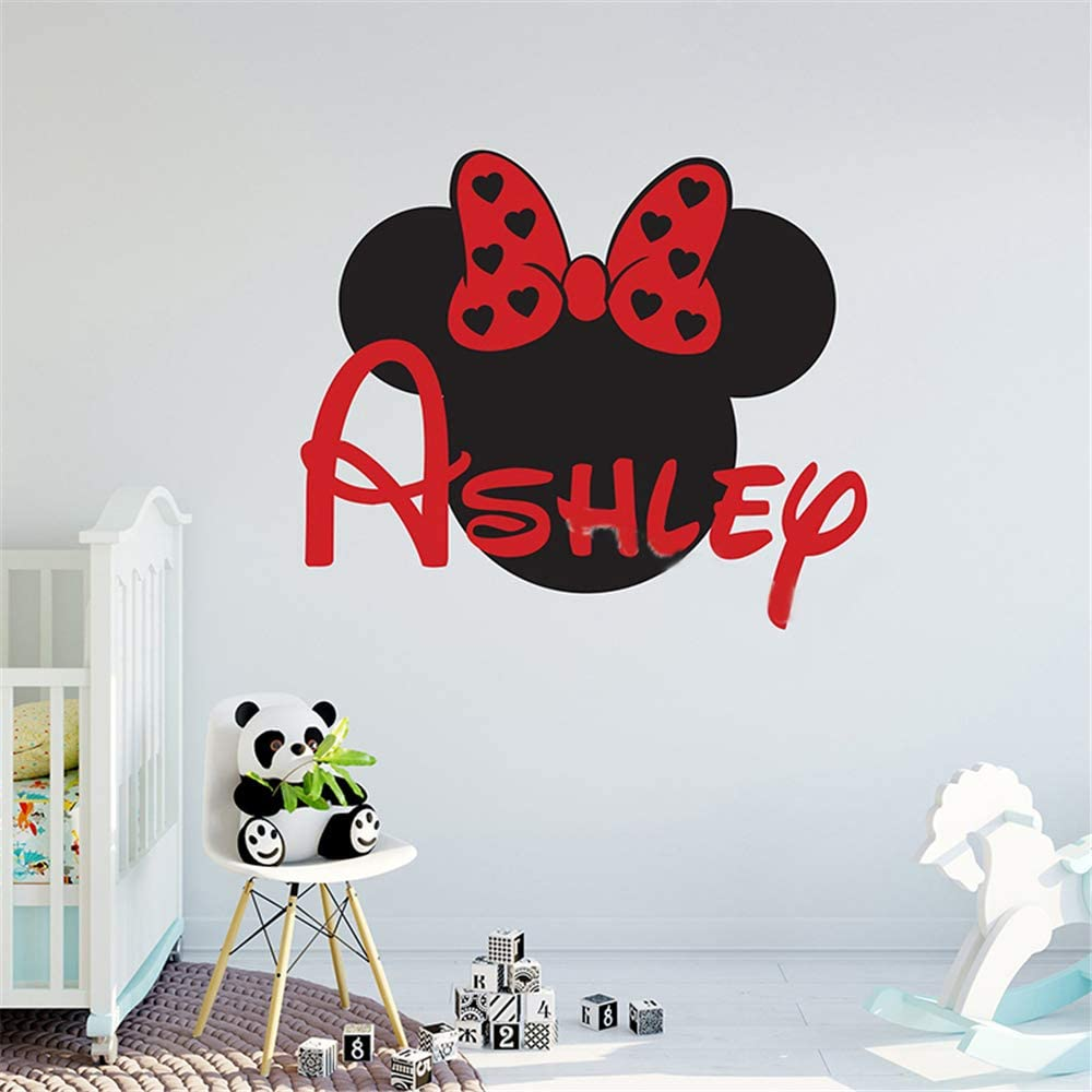 Oisiu Mickey Mouse Wall Sticker Decal Personalized Minnie Mouse Custom Names Wall Decal Nursery Name Sign Removable Girl Kids Room Decor