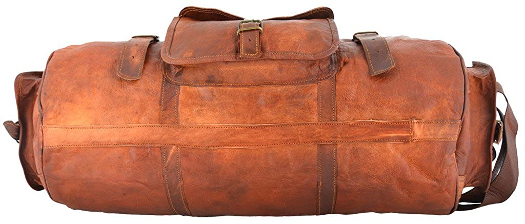 Rustic Leather Village Goat Vintage Leather Full Flap Travel Gym Bag 28*10*10 Inches