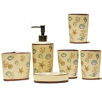 Muzidp Retro Bad Keramik Zubehör Set Beinhaltet Soap Dispenser