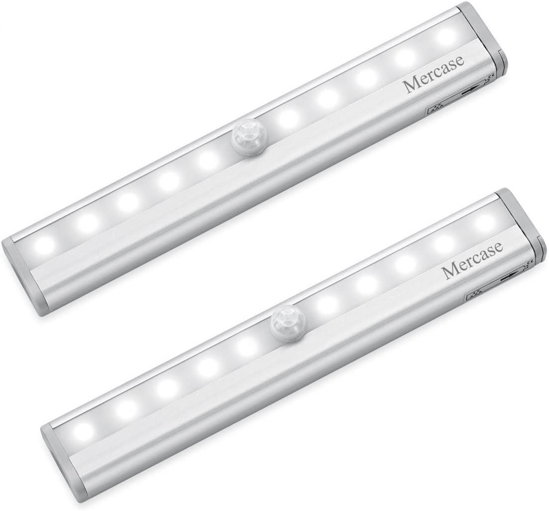 2 PCS Motion Sensor Cabinet LED Lights Battery PIR Wardrobe Cupboard  Light UK