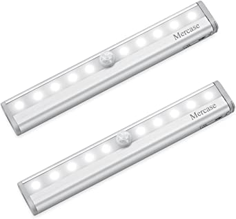 Mercase Motion Sensor Cabinet Lights 10 LED Light Bar USB Rechargeable