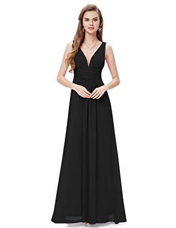 f4fe1d24ac7 Ever-Pretty Womens Elegant Empire Waist Double V Neck Maxi Dress 4 US Black
