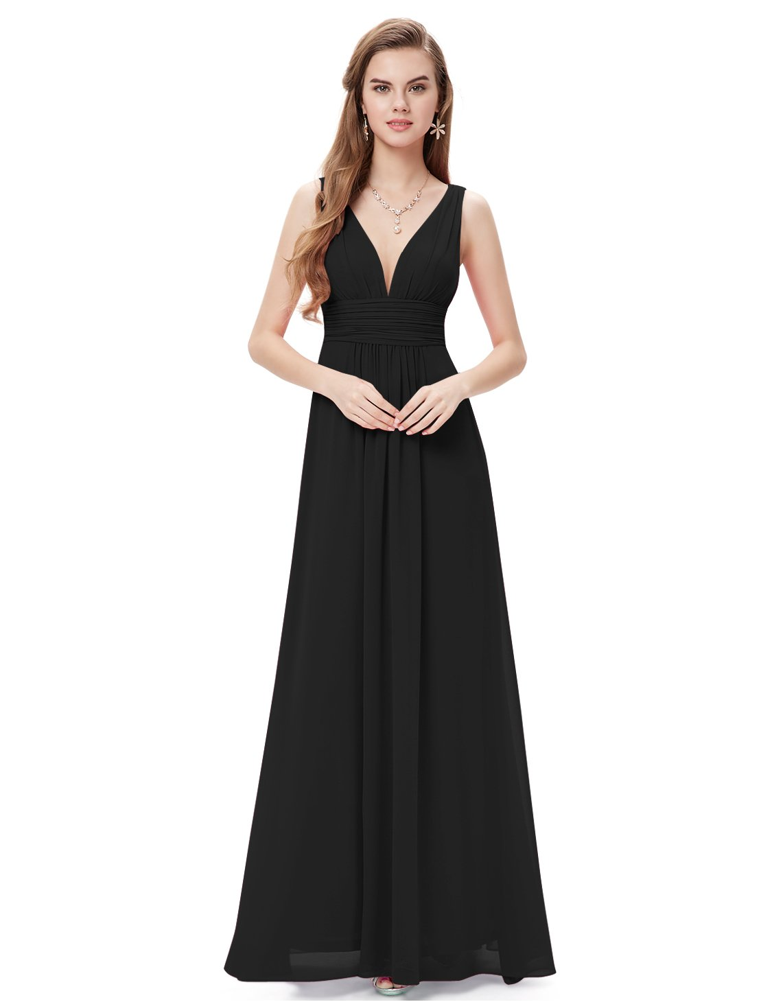 Ever-Pretty Womens Floor Length Semi Formal Evening Dress 8 US Black